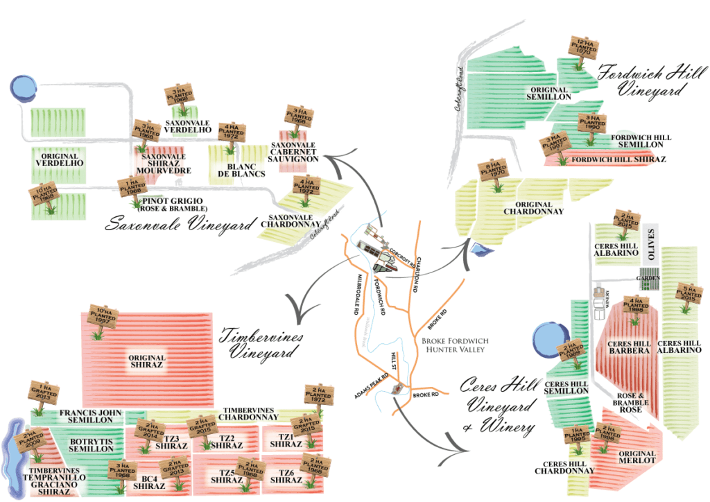 A map of 100 hectares of our sustainbly farmed vineyards here in Broke Fordwich.