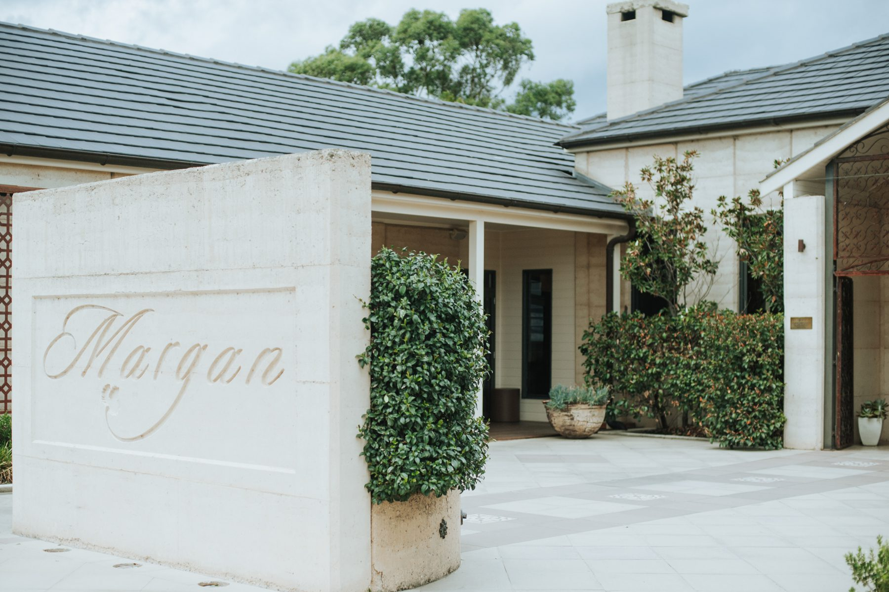 Our rammed earth courtyard entrance welcomes guests to our award-winning cellar door and hatted restaurant