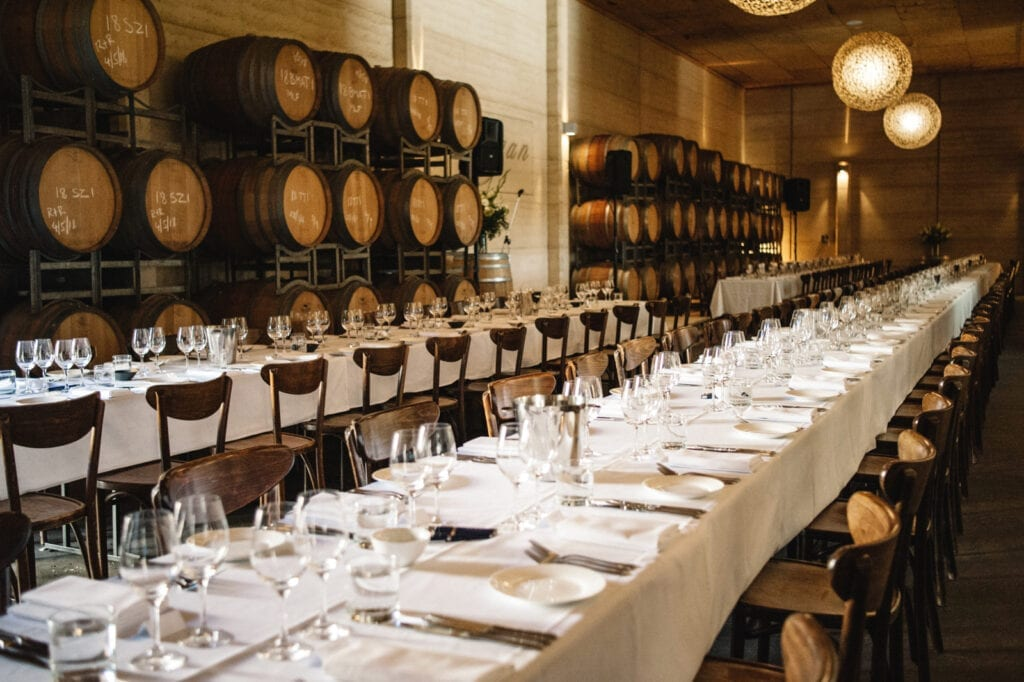 Margan Barrel Room set up for our annual Members White Label Lunch