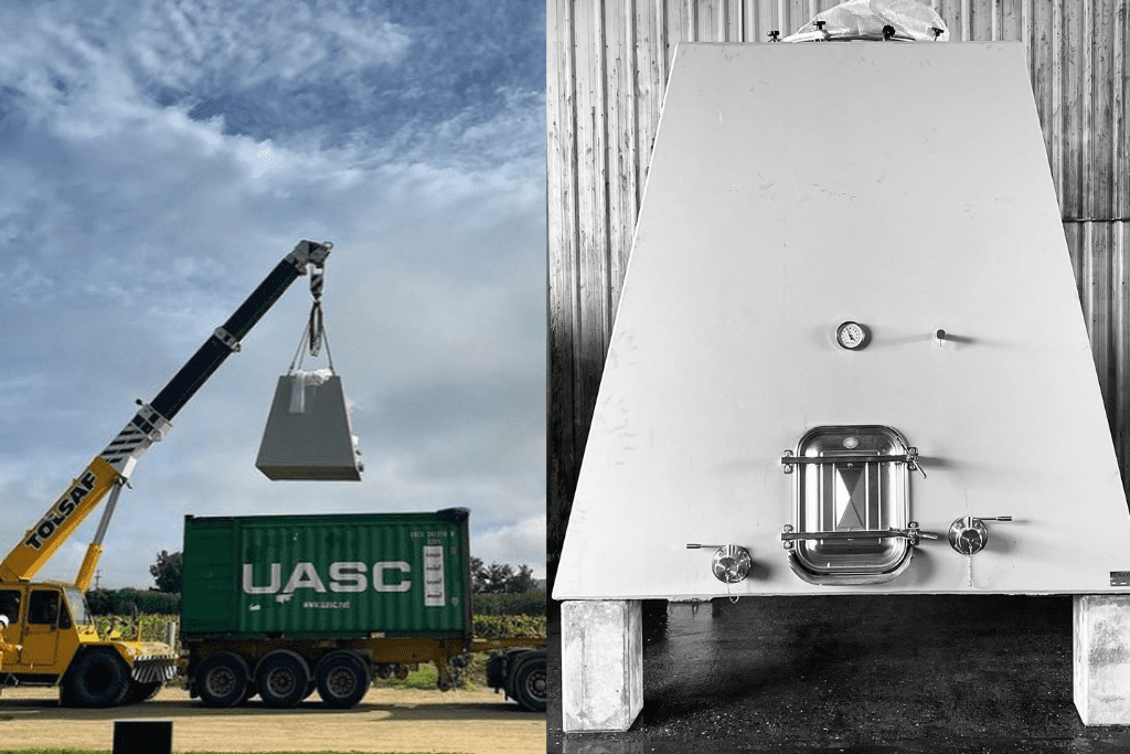 Our new concrete wine tank using a crane and two truck to make it here to the winery in Broke. The picture on the right is our new concrete tank in our winery.